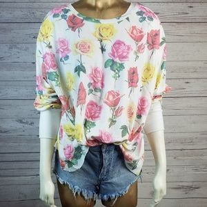 Wildfox Bright Roses Oversized Thermal Small